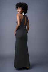Penelope bridesmaids gown in Black. Back view.