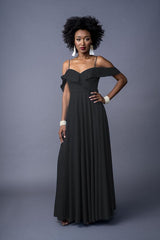 Samantha bridesmaid gown in Black. Front view.
