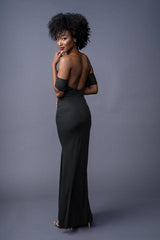 Bailey bridesmaids gown in Black. Back view.