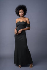 Bailey bridesmaid gown in Black. Front view.