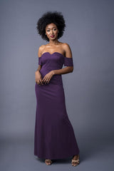Bailey bridesmaid gown in Blackberry. Front view.