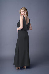 Rhiannon bridesmaids gown in Black . Back view.