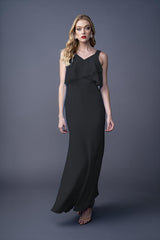 Rhiannon bridesmaid gown in Black. Front view.