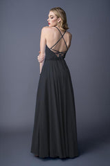 Diona bridesmaids gown in Black . Back view.