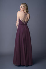 Diona bridesmaids gown in Grape. Back view.