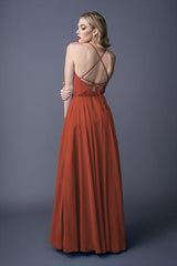 Diona bridesmaids gown in Burnt Orange. Back view.