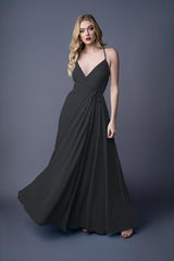 Diona bridesmaid gown in Black. Front view.