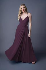 Diona bridesmaid gown in Grape. Front view.