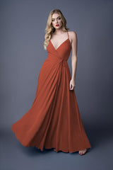 Diona bridesmaid gown in Burnt Orange. Front view.