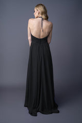 Dawnn bridesmaids gown in Black . Back view.