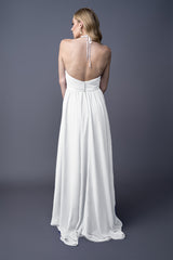 Dawnn bridesmaids gown in White. Back view.