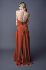 Dawnn bridesmaids gown in Burnt Orange. Back view.
