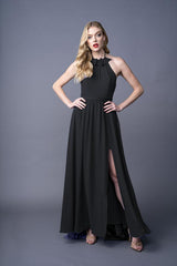 Dawnn bridesmaid gown in Black. Front view.