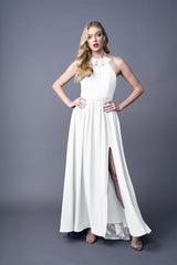 Dawnn bridesmaid gown in White. Front view.