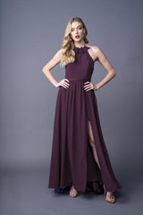 Dawnn bridesmaid gown in Grape. Front view.