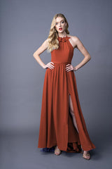 Dawnn bridesmaid gown in Burnt Orange. Front view.