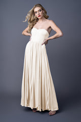 Phoebe bridesmaids gown in Ivory. Second front view.