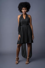 Julie Infinity bridesmaid dress in Black. Second Front view.
