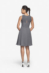 Porter Bridesmaid Dress in pewter. Back photo.