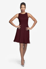 Porter Bridesmaid Dress in Mahogany. Front photo.