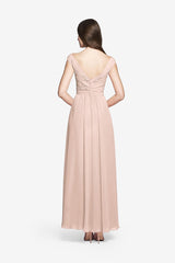 Elizabeth blush bridesmaid gown back view