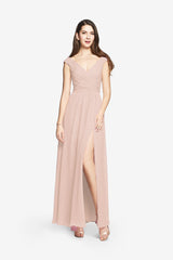 Elizabeth blush bridesmaid gown front view
