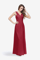 Delano cranberry bridesmaid gown front view