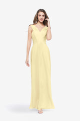 Soft Yellow Bridesmaid gown called Delano. Front view.