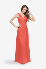 Coral bridesmaid gown called Delano. Front view.