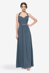 Abbott bridesmaid gown timeless-blue in 0 front view