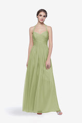 Reed bridesmaid gown in Sage. Front view.
