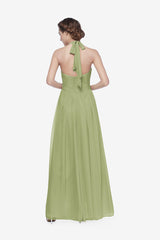 Reed bridesmaid gown in Sage. Back View.