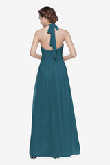 Reed bridesmaid gown in Tealness. Back View.