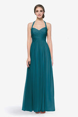 Reed bridesmaid gown in Tealness. Front view.