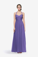 Reed bridesmaid gown in Purple. Front view.