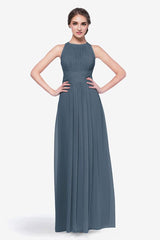 Toby bridesmaid gown in Timeless Blue front view
