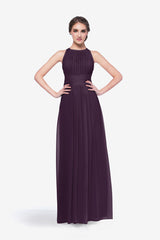 Toby bridesmaid gown in eggplant front view