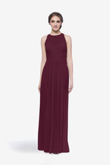 Toby bridesmaid gown in raspberry front view