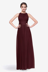 Toby bridesmaid gown in Mahogany front view