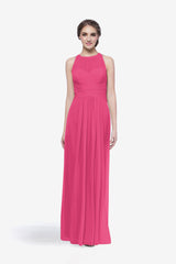 Toby bridesmaid gown in hot pink front view