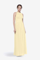 Toby bridesmaid gown in soft yellow front view