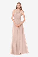 Jessica Bridesmaid Gown in blush, Front photo.
