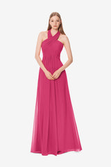 Jessica Bridesmaid Gown in hot-pink, Front photo.