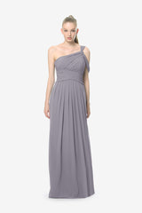 Melissa Bridesmaid Gown in shadow. Front View.