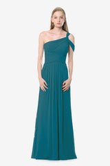 Melissa Bridesmaid Gown in tealness. Front View.