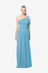 Melissa Bridesmaid Gown in turquoise. Front View.