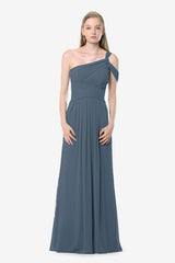 Melissa Bridesmaid Gown in timeless-blue. Front View.