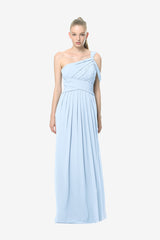 Melissa Bridesmaid Gown in light-blue. Front View.