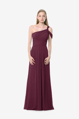 Melissa Bridesmaid Gown in raspberry. Front View.