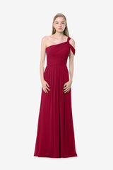 Melissa Bridesmaid Gown in cranberry. Front View.